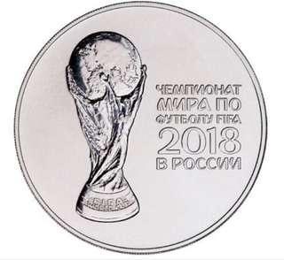 2018 Russia FIFA Soccer World Cup 1 oz Silver 3 Ruble Coin Gem BU