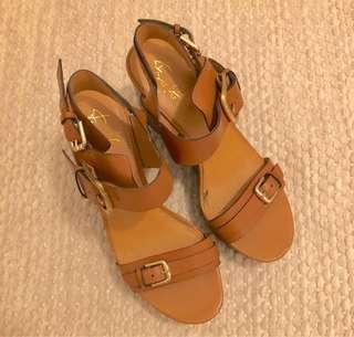 REPRICED FS Tan Leather Strap Wedge