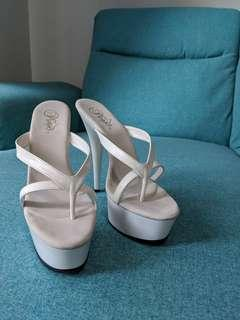 Pleaser Delight White Leather Womens High Heels Size 10 US
