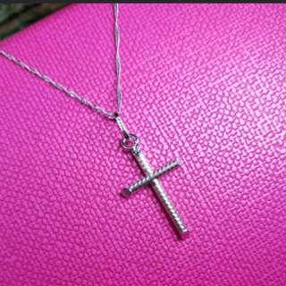Set Of 18K750 White Gold 'Cross' Pendant With Chain     18K750白金十字架吊咀頸鍊              💖Genuine & ItalyMade💖