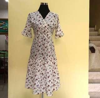 Floral Midi Wrap Dress