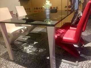 現代簡約不銹鋼玻璃餐桌椅