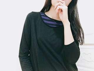 顯瘦😍假兩件紫黑條紋薄長袖上衣