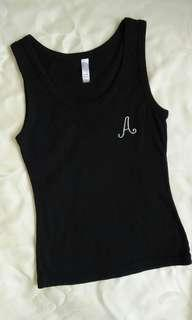 Black Cotton Tank Top with Initial A Embroidery