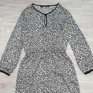 Zara 80s animal print dress