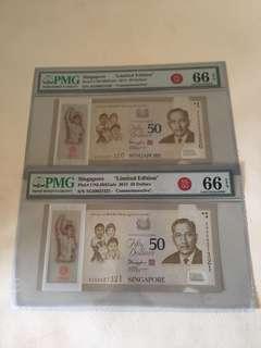 SG50 Commemorative $50 ( S1) With 2 Run unc