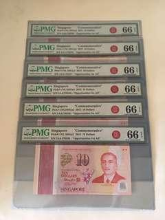 SG50 Commemorative $10 With Prefix 5AA 6 Run unc