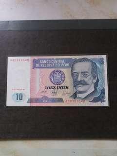 全新直版南美秘魯1987年10元纸幣