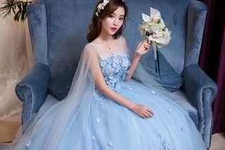 Evening Gown wedding dress bridal gown blue long tail