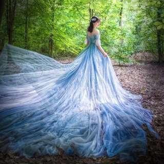 Bridal gown wedding gown blue