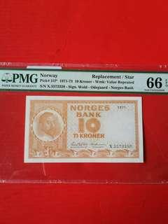 Norway 10 kroner  Replacement STAR banknote PMG graded 66 EPQ scarce
