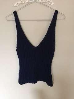 Bardot knit tank top dark blue