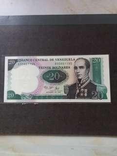 全新直版中美洲委內瑞拉1987年20元纸幣