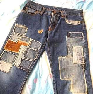 👖日本製 Hysteric glamour mini patch work denim jeans 拼布 直腳 中腰 牛仔褲