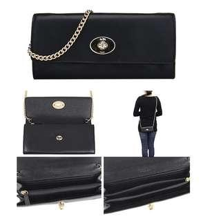 BNWT AUTHENTIC  COACH TURNLOCK SLIM ENVELOPE IN SMOOTH LEATHER CROSSBODY (COACH F53890) IMITATION GOLD/BLACK
