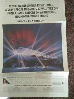 Old Singapore Airlines SIA Newspaper Advertisement