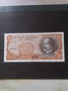 全新直版南美智利1967-76年10元纸幣