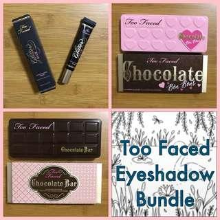 Too Faced eyeshadow bundle: Too Faced Glitter Glue, Chocolate Bon Bons eyeshadow palette, Chocolate Bar Eyeshadow Collection