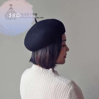 Black wool hat 黑色 畫家帽