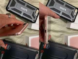 Apple iPhone 7 Plus 128G 充電線豆腐頭 全新 玫瑰金 9成新 全機包膜 康寧玻璃貼