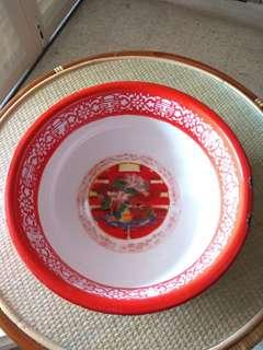 Antique enamel basin red
