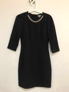 H&M Black Midi Dress with Gold Chain