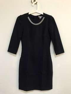 H&M Navy Dress with Silver Chain