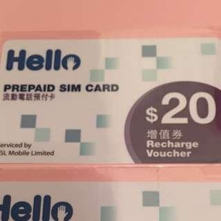 CSL Hello $20 增值券 只適用於 CSL Hello 電話卡
