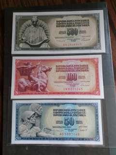 全新直版東歐南斯拉夫1986年一套三張紙幣