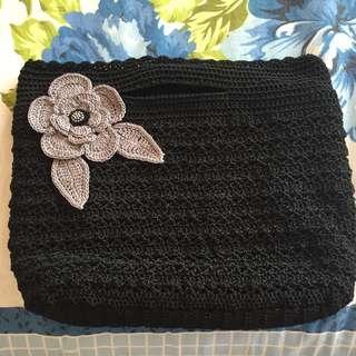 Handmade Black crochet hand bag