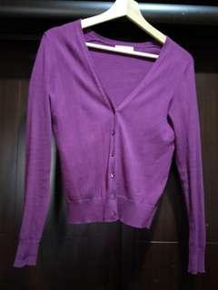 Lativ 針織V領外套(紫色)