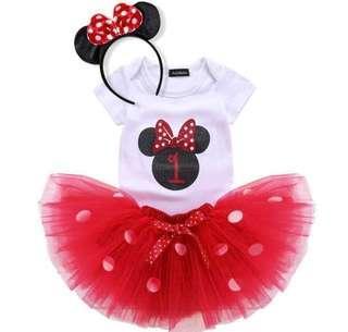 1st Birthday Minnie Mouse 3 pcs set