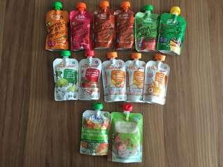 Pack of 13 assorted food pouches