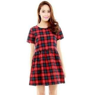 Red Tartan Babydoll Dress