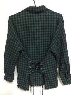 🚚 全新✨個性風綠色格紋馬甲襯衫