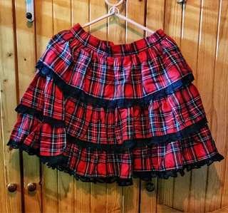 紅色格仔裙Lolita蛋糕裙