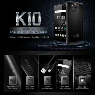 OUKITEL K10, 6GB+64GB, Dual Back Cameras + Dual Front Cameras, Face & Fingerprint Identification, 11000mAh Battery, 6.0 inch Android 7.0 Helio P23 Octa Core up to 2.0GHz, Network: 4G, OTG