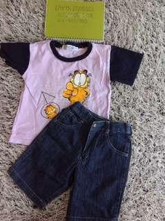 Boy's set - Kiko short & Garfield shirt
