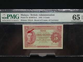 Malaya 5 cent 65 epq