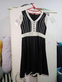 Dress black - white, impor murah