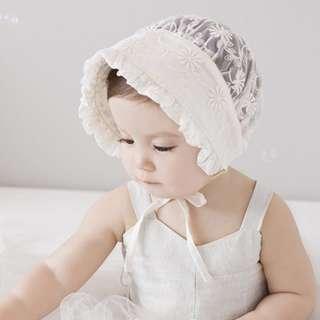 🚚 🌟INSTOCK🌟 Korean Ivory Lace Floral Tie Closure Bonnet Newborn Baby Toddler Girl Sun Hat Kids Hair Accessories