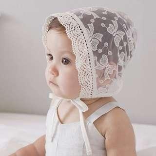 🚚 🌟INSTOCK🌟 Korean Ivory Lace Bow Ribbon Bonnet Newborn Baby Toddler Girl Sun Hat Kids Hair Accessories