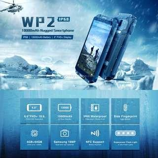 OUKITEL WP2 Rugged Phone, 4GB+64GB, IP68 Waterproof Shockproof Dustproof, Dual Back Cameras, Side-mounted Fingerprint Identification, 10000mAh Battery, 6.0 inch Android 8.0 MTK6750T Octa Core up to 1.5GHz, Network: 4G, NFC, OTG