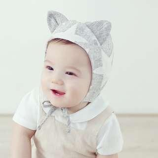 🚚 🌟INSTOCK🌟 Cute Ears Textured Grey Star Print Beanie Hat for Newborn Baby Toddler Boys and Girls Photoshoot Kids Hair Accessories