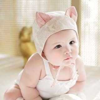 🚚 🌟INSTOCK🌟 Cute Ears Textured Star Pink Print Beanie Hat for Newborn Baby Toddler Girls Photoshoot Kids Hair Accessories