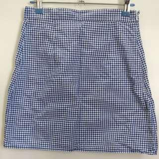 Gingham skirt in navy blue
