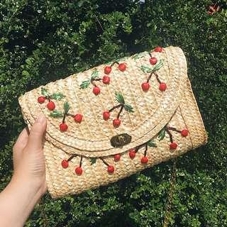 Cherry straw bag