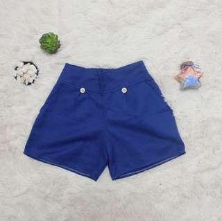 High waist blue shorts