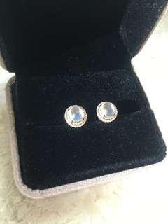 <清貨>18k金玻璃種翡翠鑽石耳環(附証書)