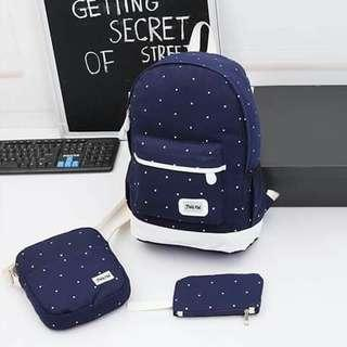 3pcs Bagpack Wallet and Pouch